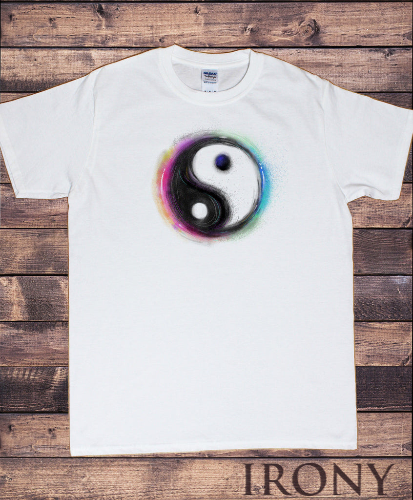 Irony T-shirt Mens T-shirt-Peace Love Ying Yang Motif Air Brushed Vibrant Novelty Print C30-49