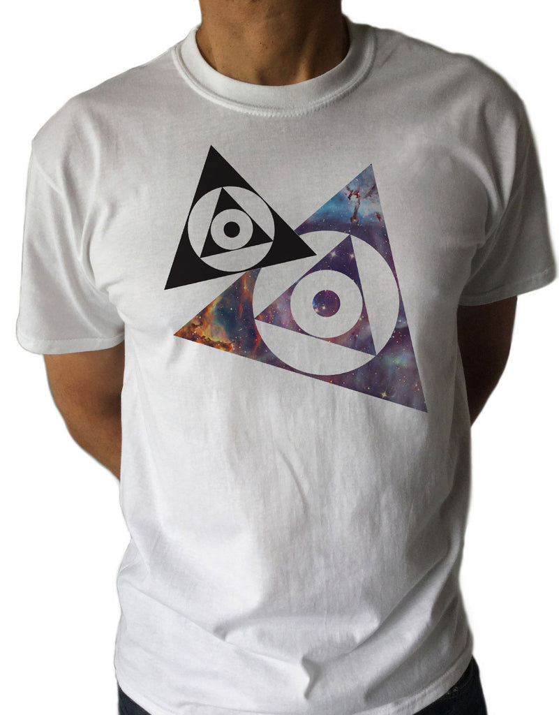 Irony T-shirt Mens T-shirt with Space Print Universe Circles Triangles Geek Science Nerd UFO