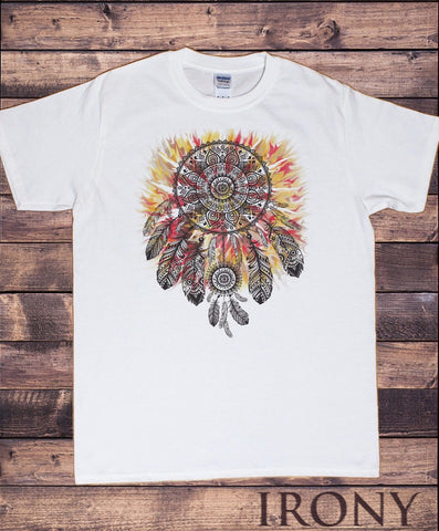 Irony T-shirt Mens Tribal Red Indian Native American Feathers Culture T-Shirt Novelty TSK8