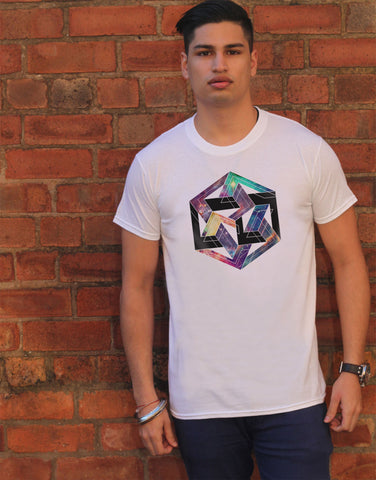 Irony T-shirt Mens White T-shirt Abstract SPACE design Geometric Print TS364