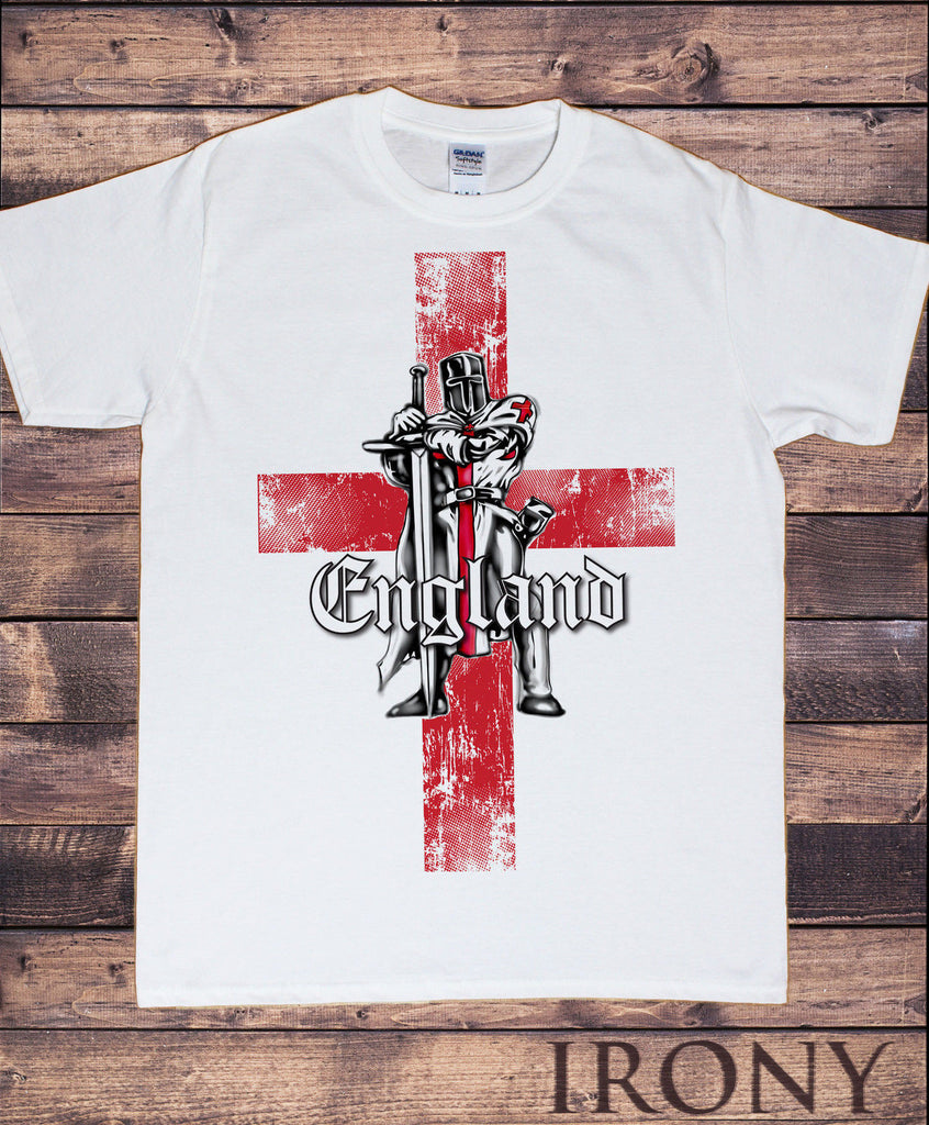 Irony T-shirt Mens White T-shirt- England Proud Knight St George's Flag Football Print TS101