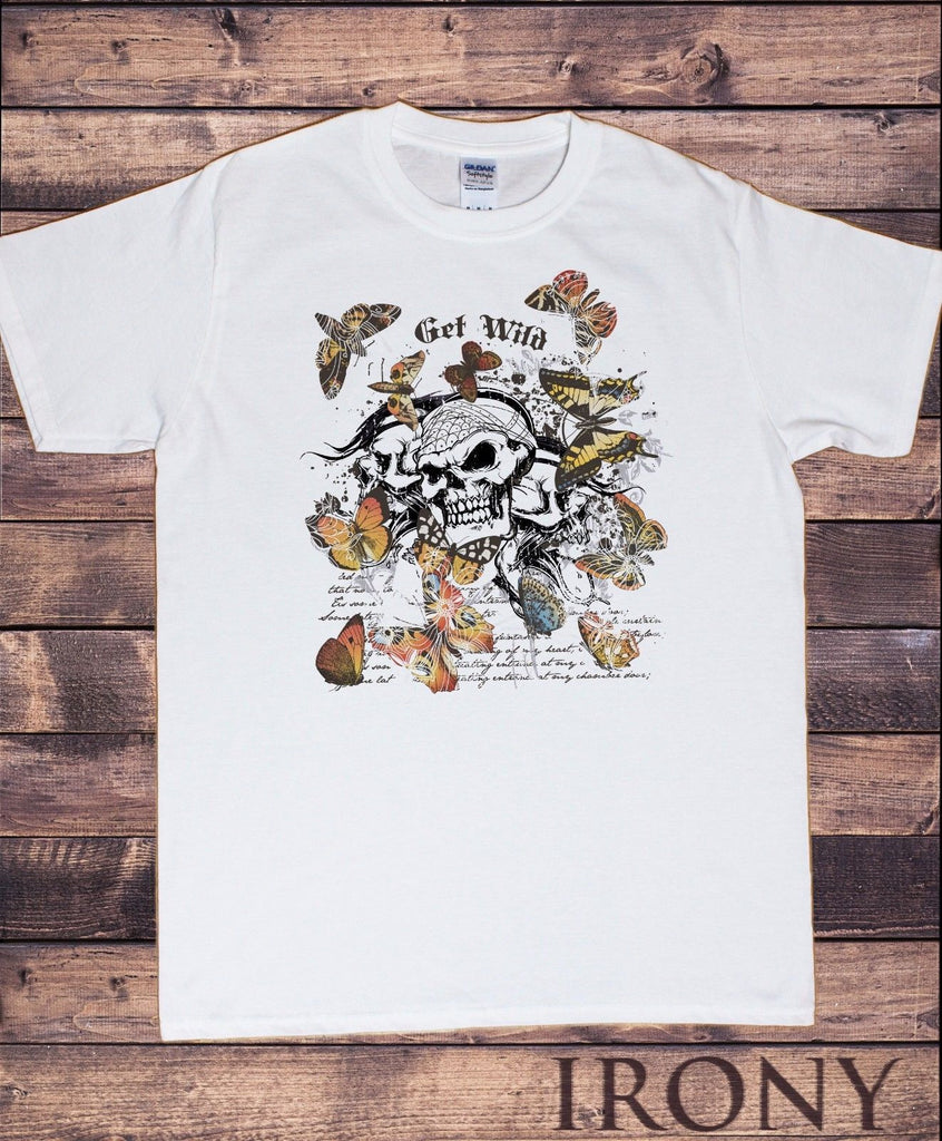 Irony T-shirt Mens White T-Shirt Vintage Collection-Butterflies Skeleton Get Wild Design TS300