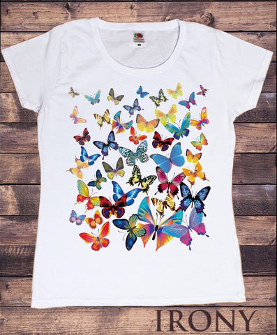 Irony T-shirt S Brand New-Women White T-Shirt With scattered Butterfly print-Women/Fashion TSA5