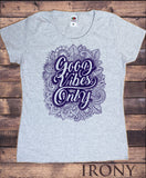 Irony T-shirt S / Grey/navy / 100% Cotton Womens Tee Good Vibes Only- Motivational inspirational quote- Flowery Print TS776