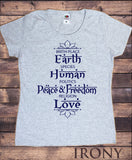 Irony T-shirt S / Grey Womens Tee Birth Place Earth, Species Human, Politics Peace & Freedom, Religion Love Print TS724