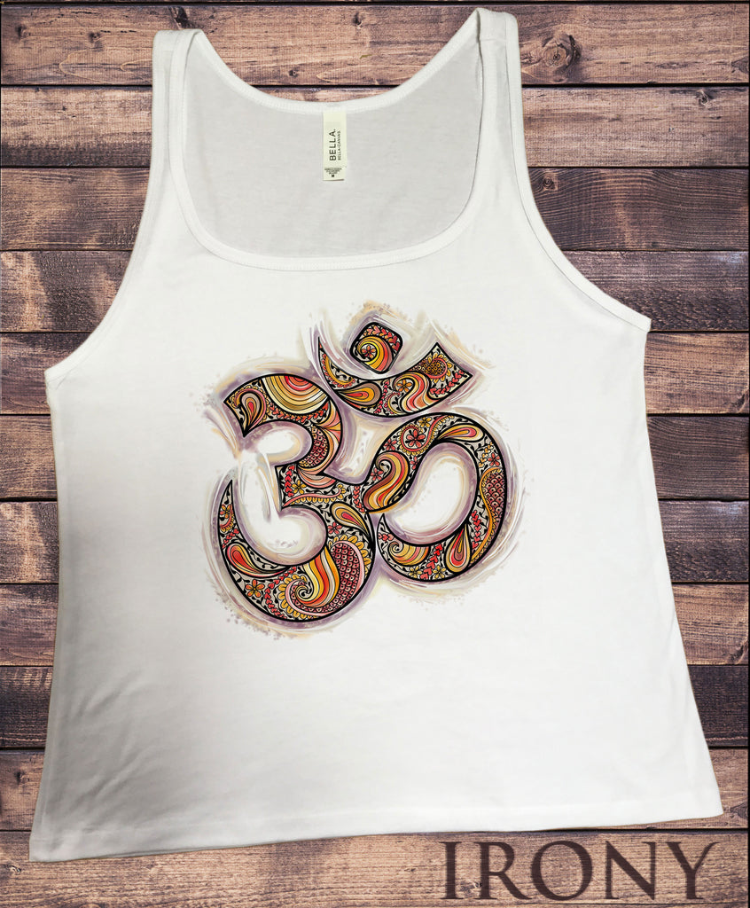 Irony T-shirt S Jersey Tank Top Om Aum Yoga aztec flowers India Zen Hobo Boho JTK864