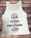 Irony T-shirt S / White Jersey Tank Top Birth Place Earth, Species Human, Politics Peace & Freedom, Religion Love Print JTK724
