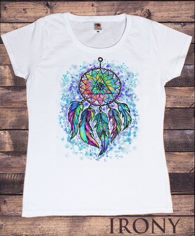 Irony T-shirt S / White Women's T-Shirt Dream Catcher Tribal Red Indian Native American Feathers Effect TS859