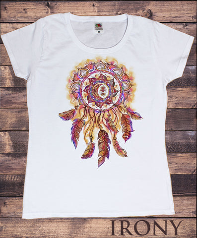 Irony T-shirt S / White Women's White T-Shirt Dream Catcher Tribal Red Indian Native American Feathers Effect TS878