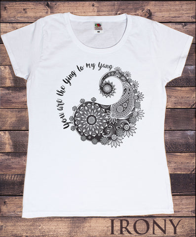 Irony T-shirt S / White Womens T-Shirt Yin Yang- You are the ying to my yang- Flowery love Print TS629
