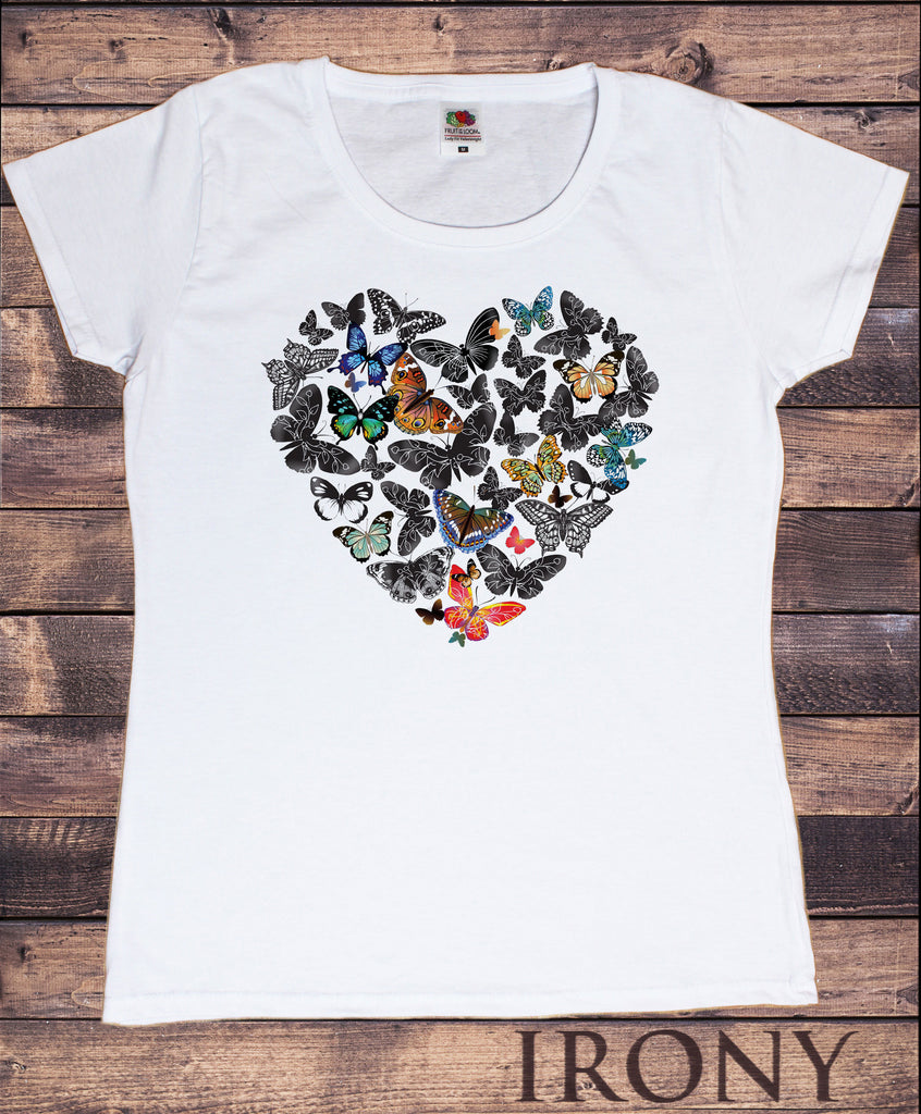 Irony T-shirt S Women's White T-Shirt Bird Love Heart Print Animal Print T-Shirt Flowers Print TS905