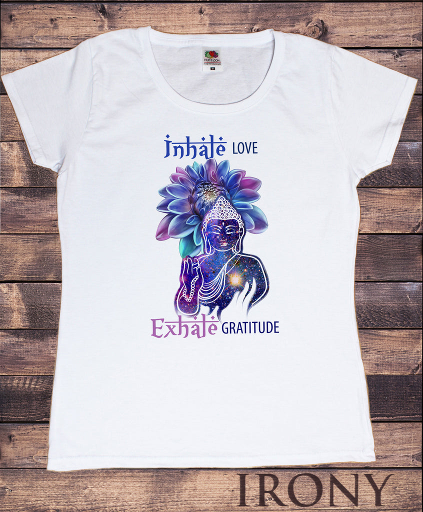 "Irony T-shirt S Women's White T-Shirt Buddha ""Inhale Love, Exhale Gratitude"" Space Buddha Print TS784"