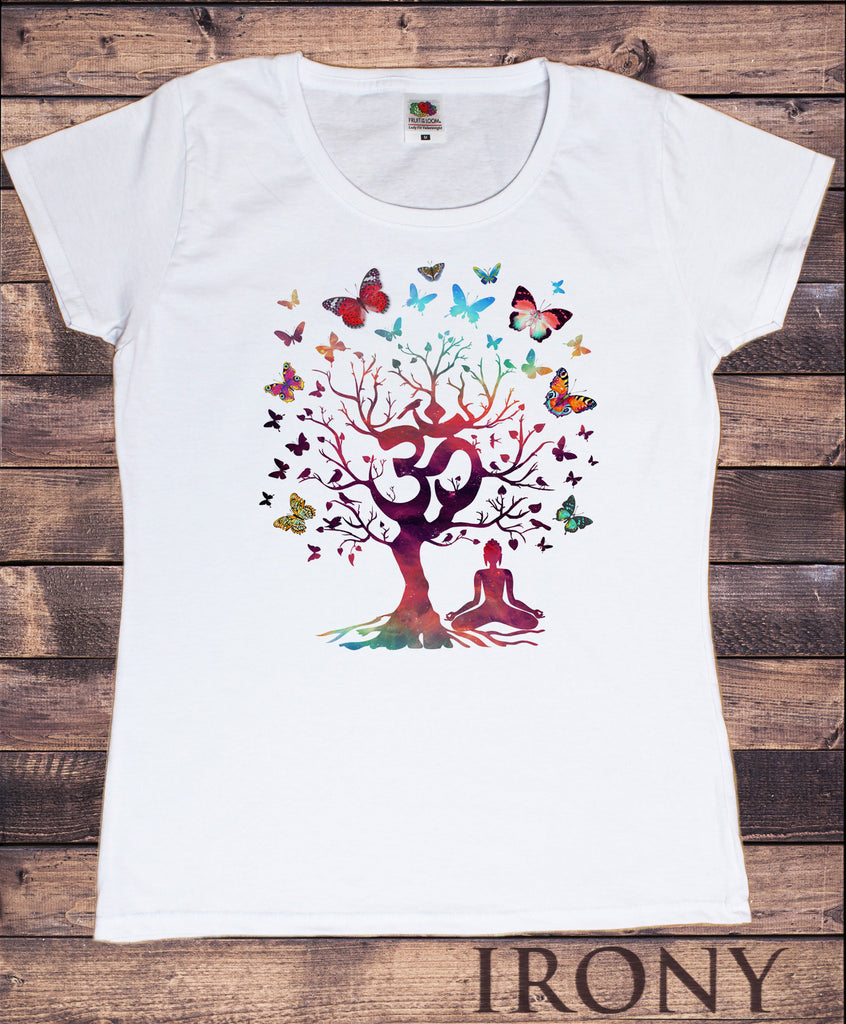 Irony T-shirt S Womens White T-Shirt Yoga Meditation India zen OM Tree Beautiful Butterflies Print TS856