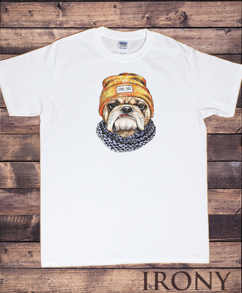 Irony T-shirt Small / White / 100% Cotton TS880 Men's White Top 'Cool Dog' Pug Hat & Scarf Cute Pug Print