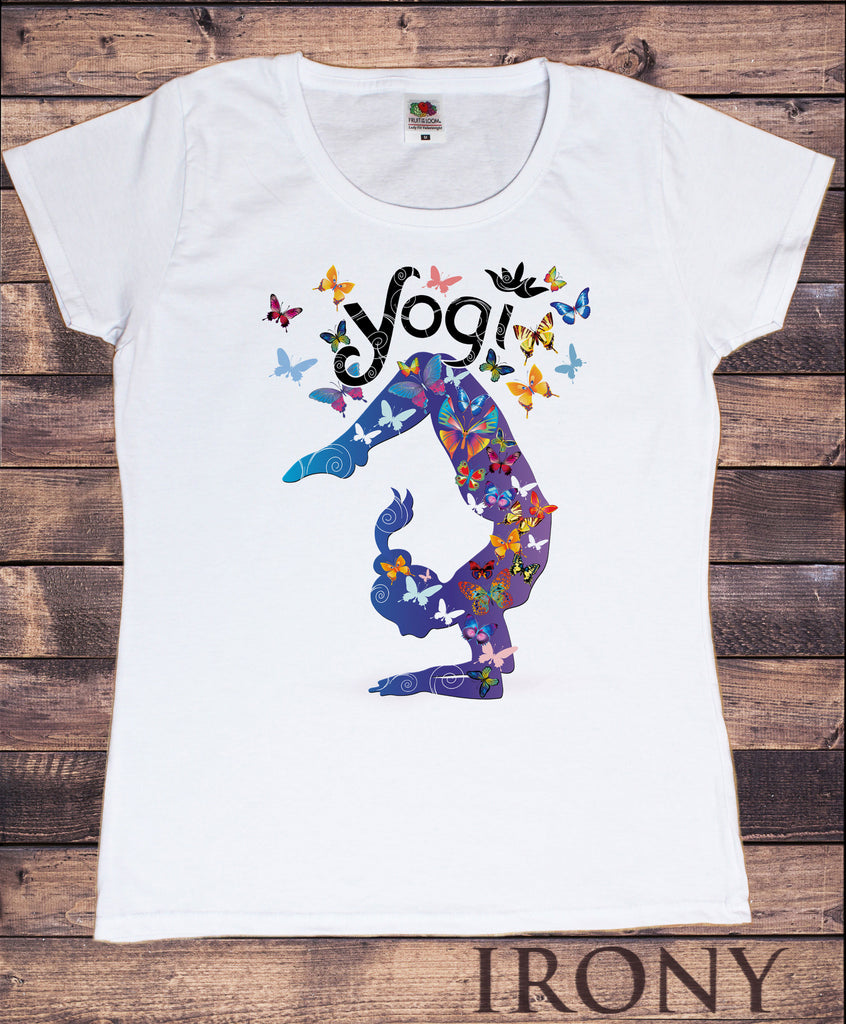 "Irony T-shirt Small / White / 100% Cotton Womens White T-Shirt Yoga Meditation Top ""Yogi"" Beautiful Butterfly Yoga TS793"