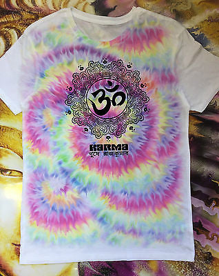 Irony T-shirt Subli Men Tie Dye Yoga Karma Chakra Meditation Hobo Boho Peace Spirit Om india