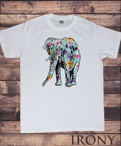 Irony T-shirt White Mens T-Shirt- Froral Elephant, Novelty Animal Motif Print TSY8