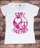 "Irony T-shirt Women's T-Shirt ""Come Together"" Love Heart and Peace CND icon Flowery Distort Print TS720"