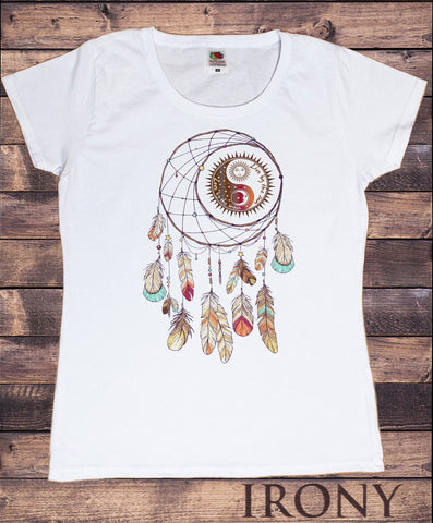 "Irony T-shirt Women's Tee ""Live by the sun, Love by the moon"" Spiral Red Indian Native American Feathers Culture TS775"