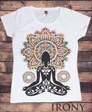 Irony T-shirt Women's White T-Shirt Aztec Yoga Top Buddha Chakra Meditation Zen Hobo Boho Print TSA20