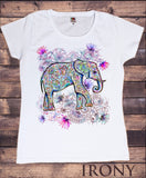 Irony T-shirt Women's  White T-Shirt Boho Hippy Ethnic Indian  Elephant Tribal Colourful Print
