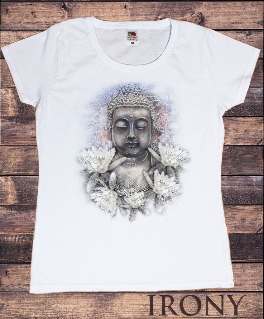 Irony T-shirt Women's White T-Shirt Buddha Face Flower Om Asum Yoga Chakra Meditation India Zen Print TSA17