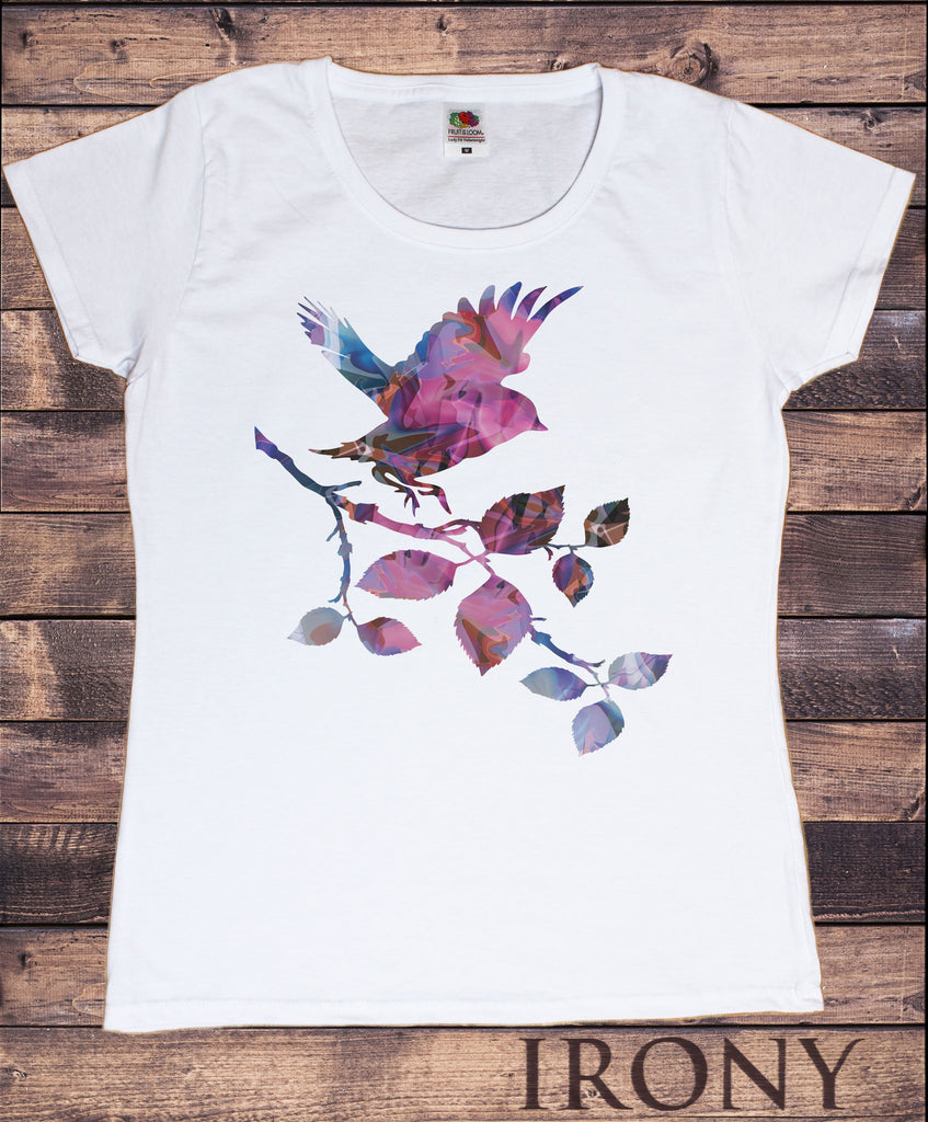 Irony T-shirt Women's White T-Shirt Colourful Bird on Branch Graphical Print TSJ2