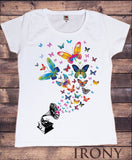 Irony T-shirt Women's White T-Shirt Colourful Butterfly Design-Gramophone Retro Print TS324