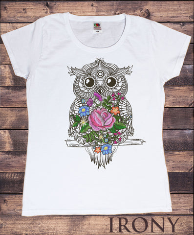 Irony T-shirt Women's White T-Shirt Embroidery Effect Owl Geometric Icon Flowers effect Owl Zen Print TS755