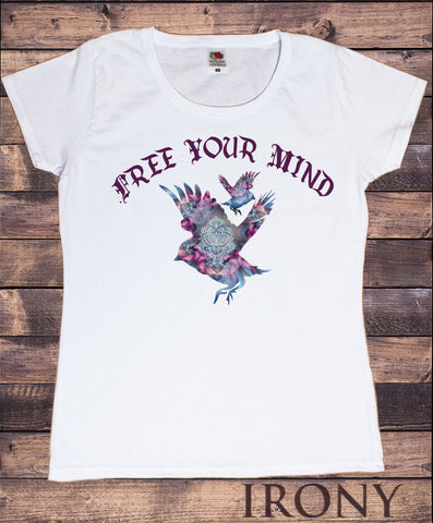 "Irony T-shirt Women's White T- Shirt ""Free Your Mind"" Illusional Birds -Freedom- Gothic Style Print TS713"