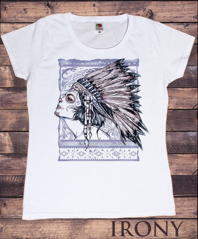 Irony T-shirt Women's White T- Shirt, Indian Girl in Feathers Pretty Gothic Style Print TS187
