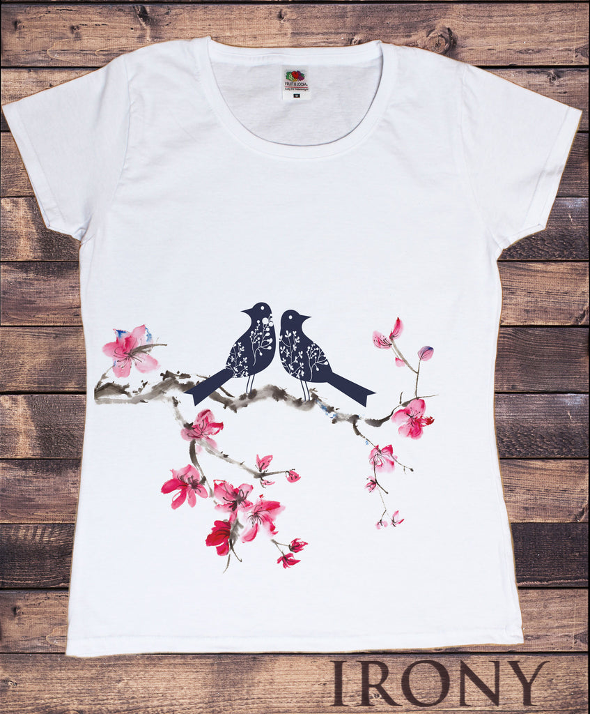 Irony T-shirt Women's White T-Shirt Japanese Colourful Bird Print Animal Print T-Shirt Flowers Short Sleeve Print TSO4