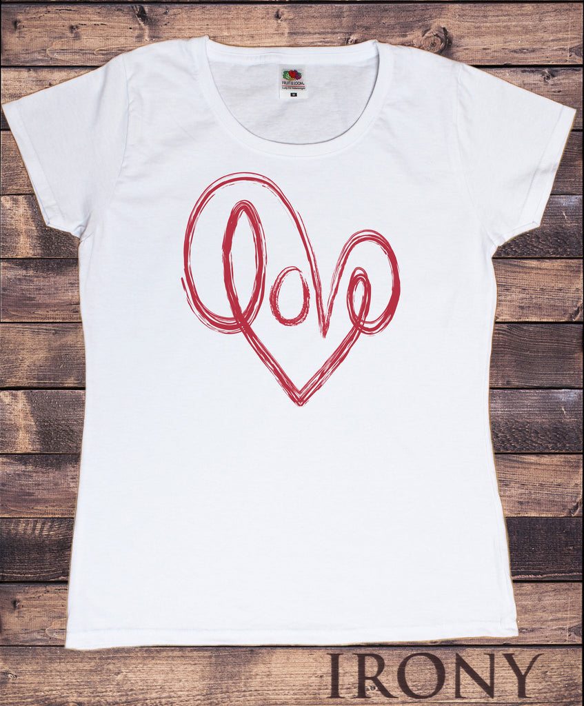 Irony T-shirt Women's White T-Shirt LOVE Heart-Valentine Heart Love Brush Effect Print TS407