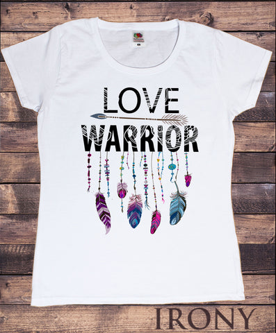 Irony T-shirt Women's White T-Shirt Love Warrior feathers and arrow Design-Strings Print TS728