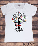 Irony T-shirt Women's White T-Shirt Music Tree- Tree Playing Guitar- Music Notes Print TS244