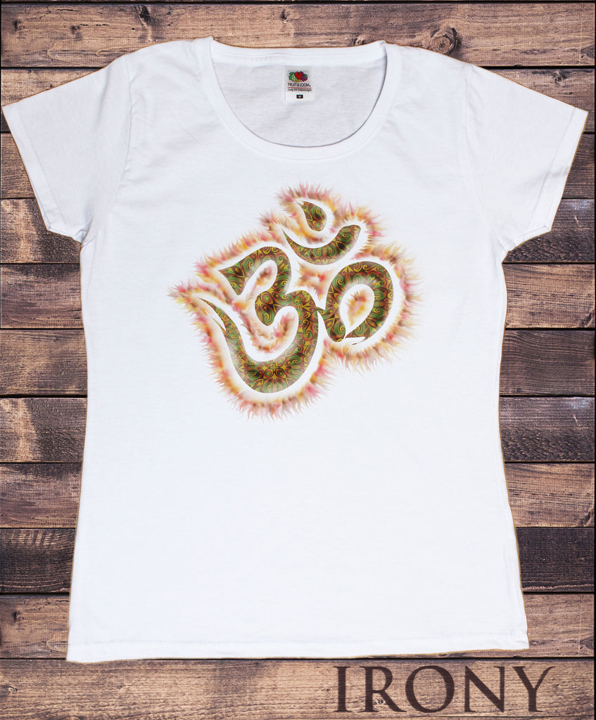 Irony T-shirt Women's White T-Shirt Orange Om Top Chakra Meditation Hobo Boho Peace Spirit India Om Print TSP8