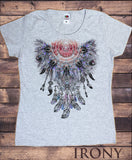 Irony T-shirt Women's White T-Shirt Tribal Red Indian Native American Feathers Fusion Culture Novelty TS707