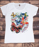 Irony T-shirt Women's White T-Shirt With Large Butterfly Print TSC12