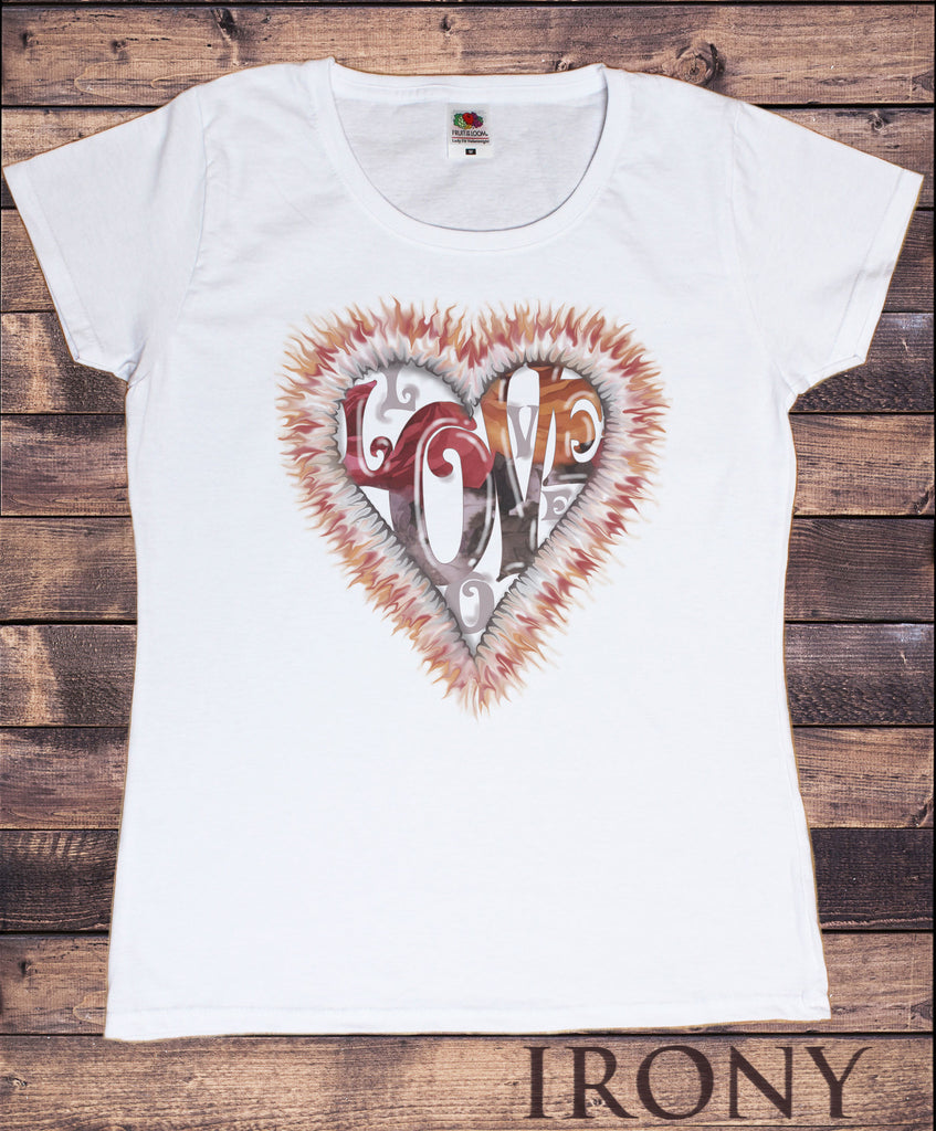 Irony T-shirt Women's White T-Shirt With Love Tie-Dye Print-Funky 80's Retro Heart Print TSJ5
