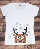 Irony T-shirt Women's White T-Shirt Xmas Cute Reindeer Snow Flakes Scape Glitter Effect Novelty Print TSF7