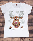 Irony T-shirt Women's White T-Shirt Xmas Reindeer Stocking Santa Filler Novelty Glitter Effect Print TSE2
