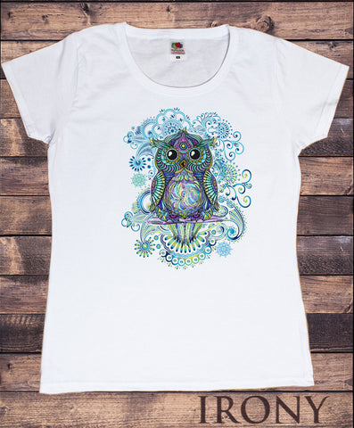Irony T-shirt Women's White Tee Colourful Owl Abstract Icon- Flowery Tie Dye Print TS843