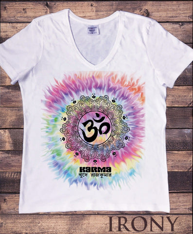 Irony T-shirt Women's White V Neck T-Shirt yoga Karma Tie Dye  Meditation Peace Aum Print TSJA