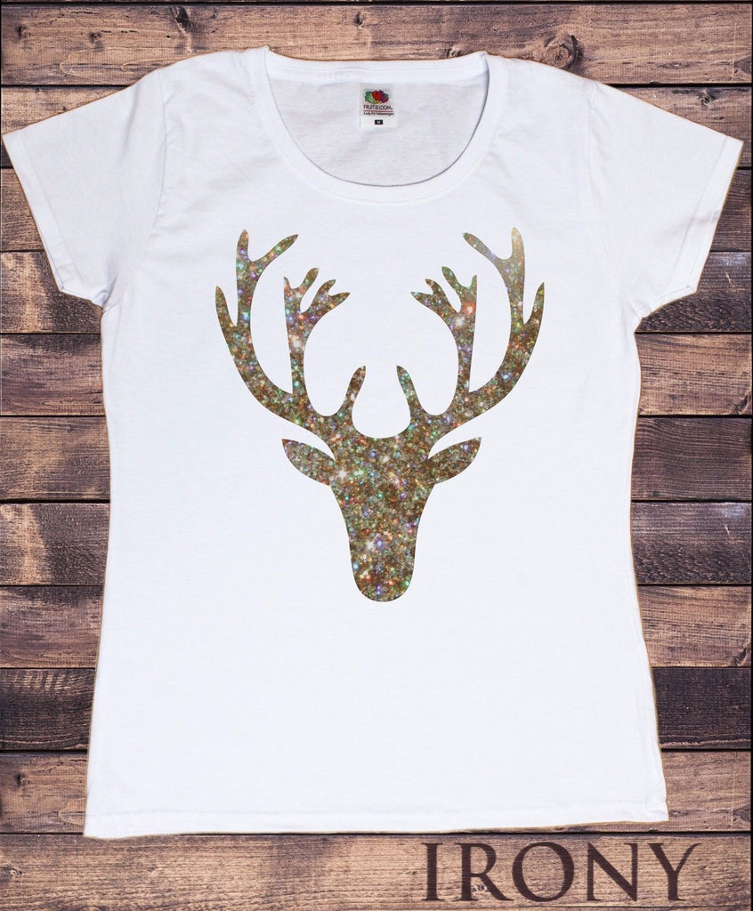 Irony T-shirt Women White T-shirt Christmas Gold Reindeer Head Glitter Effect Print TSF6