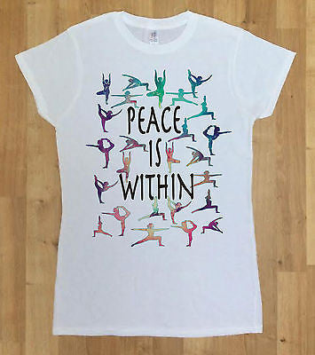 Irony T-shirt Women White T-shirt 'Peace is Within' colourful yogo Meditation