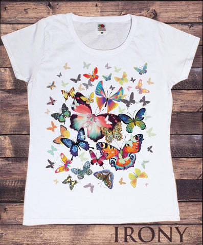 Irony T-shirt Women White T-Shirt Scattered Butterfly Print-Women/Fashion Print Summer TSN7