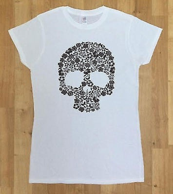 Irony T-shirt Women White T-shirt Skull Flower Retro Floral Vintage Art Peace Hipster Fashion