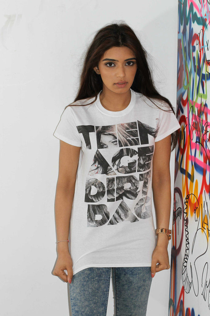 Irony T-shirt Women White T-shirt Teenage Dirtbag Print Novelty Swag Hipster Fashion C30-16
