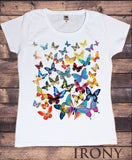 Irony T-shirt Women White T-Shirt With scattered Butterfly print-Women/Fashion TSA5