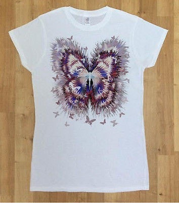Irony T-shirt Women White T-Shirt With Scattered Butterfly Rustic Print-Women/Fashion Print